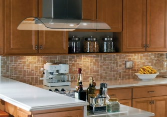 Sand Slate and Glass Tile Backsplash