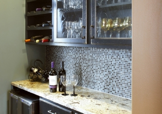 Black Oil Mosaic Tile Backsplash