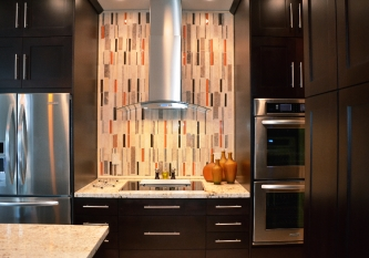 Brick Vertical Tile with Orange Accent