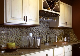 Tumbled Kaki Mosaic Tile Backsplash