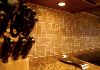 Sand Slate and Tile Backsplash